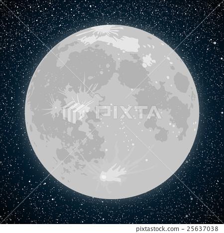 Stock Illustration: Starry night sky. Stars. Vector Moon.