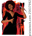 afro american jazz singer on grunge background 25637992