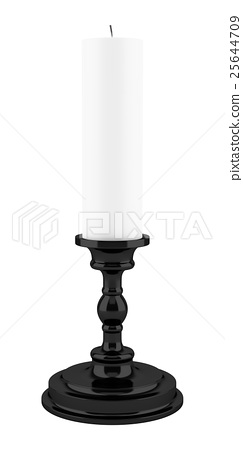 black candlestick with candle isolated on white  25644709