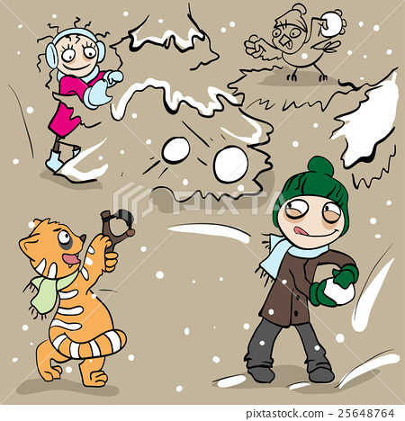 Boy and girl playing snowballs 25648764