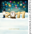 Happy New Year 2017 background with fireworks 25649701