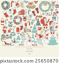 Christmas set of hand drawn doodle accesories 25650870