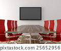Conference room with blank LCD TV in background 25652956