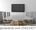 Conference room with blank LCD TV in background 25652957