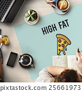 Pizza Icon Fast food Unhealthy Snacks Calories Fat Concept 25661973