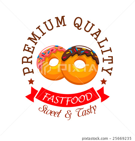 Donut Symbol For Fast Food Cafe And Bakery Design Stock