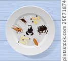cooked insects in a plate 25671874