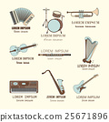 Music instruments thin line icon set for web and 25671896