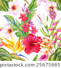Watercolor tropical floral pattern 25675665