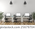 Work desks in empty room 25679704