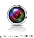 Colorful camera lens on white background. 25680792