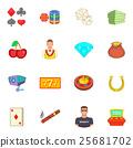 Casino icons set, cartoon style 25681702