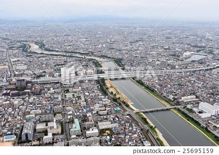효고현 니시 노미야시 아마 가사키시를 공중 촬영 25695159