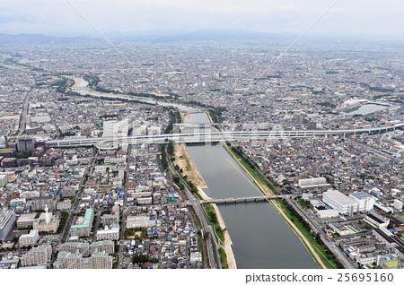 효고현 니시 노미야시 아마 가사키시를 공중 촬영 25695160