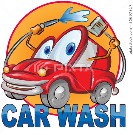 car wash symbol cartoon isolated on white 25697817