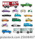 Big Set of wheeled transport in Flat design. 25698467
