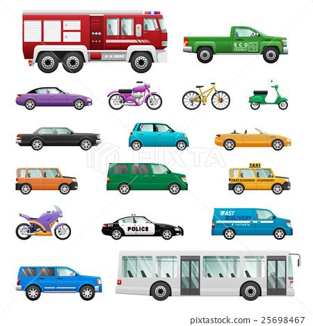 Big Set of wheeled transport in Flat design. 25698467