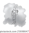 Standing alone astronaut cartoon drawing 25698647