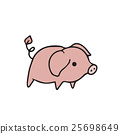 Standing alone pig cartoon drawing 25698649