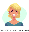 Pretty blond woman, angry facial expression 25699980