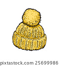 Bright yellow winter knitted hat with pompon 25699986