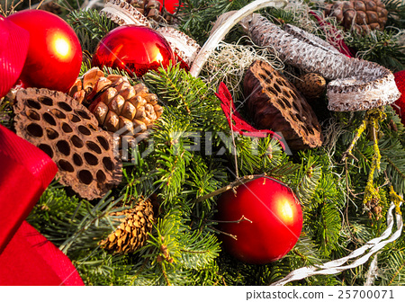 christmas background with toys on fir tree 25700071