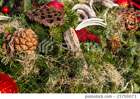 christmas background with toys on fir tree 25700073