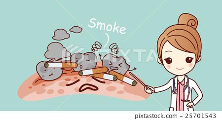 Cigarette Caricature cartoon woman dentist with cigarette - stock illustration [25701543