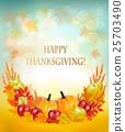 Thanksgiving background with autumn fruit 25703490