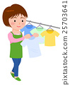 Housewife hanging up the laundry 25703641