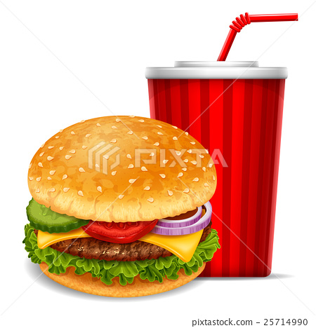 Hamburger and soda 25714990