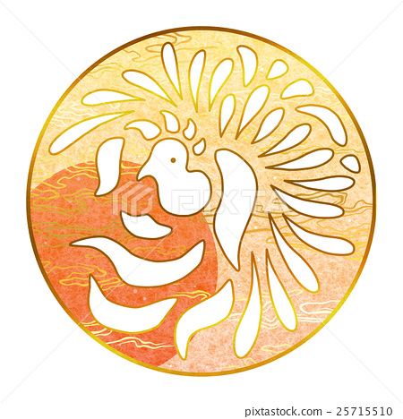 Plate material (Japanese pattern, circular pattern, phoenix) 25715510