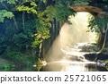 密集的溝槽瀑佈在千葉縣陽光早晨 25721065