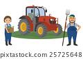 농가 부부와 농업용 트랙터 25725648