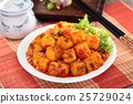 Mapo tofu with lettuce and tea pot on white 25729024