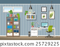 Illustration of interior of a modern home office 25729225