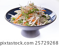 Daikon salad  on blue chinese plate on 25729268