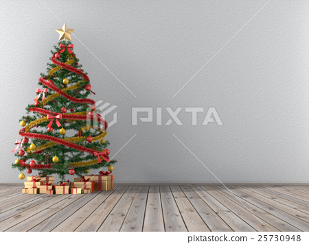 Christmas tree and gift gold in an empty room.3D r 25730948