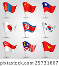 vector set of nine flags of states of east asia 25731607