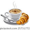 크로와상, 커피, 컵 25731772