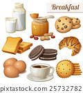Breakfast 3. Set of cartoon vector food icons 25732782