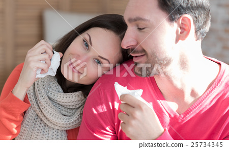 Pleasant optimistic woman recovering from cold 25734345