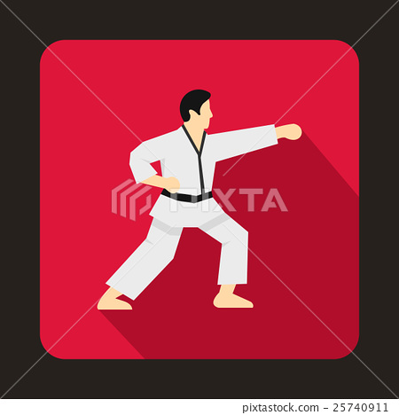 Karate fighter icon, flat style 25740911