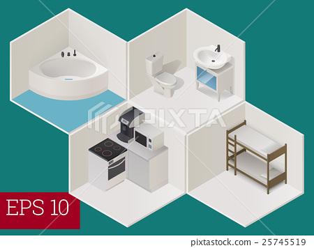 interior room isometric vector illustration 25745519