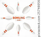 Bowling Pins Set Card or Poster. Vector 25746056