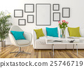 Living room - on the wall empty picture frames 25746719