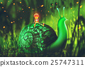 green snail with cute robot in the woods 25747311