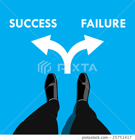 Businessman at the cross road - success or failure 25751417