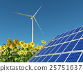 Wind turbine, solar panel and sunflowers 25751637