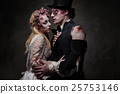 Dressed in wedding clothes romantic zombie couple 25753146